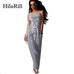 HiloRill Cat Print Long Maxi Dress Women 2017 Summer Boho Beach Bodycon Dress Elegant Evening Party Dresses Tunic Vestidos S-XL - ShopTug