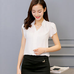 Shirt Female Big Sizes Short Sleeve Shirt | Fashion Bodycon Leisure Chiffon Blouse Tops - ShopTug