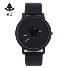 Hot fashion creative watches women men quartz-watch 2017 BGG brand unique dial design lovers' watch leather wristwatches clock - ShopTug