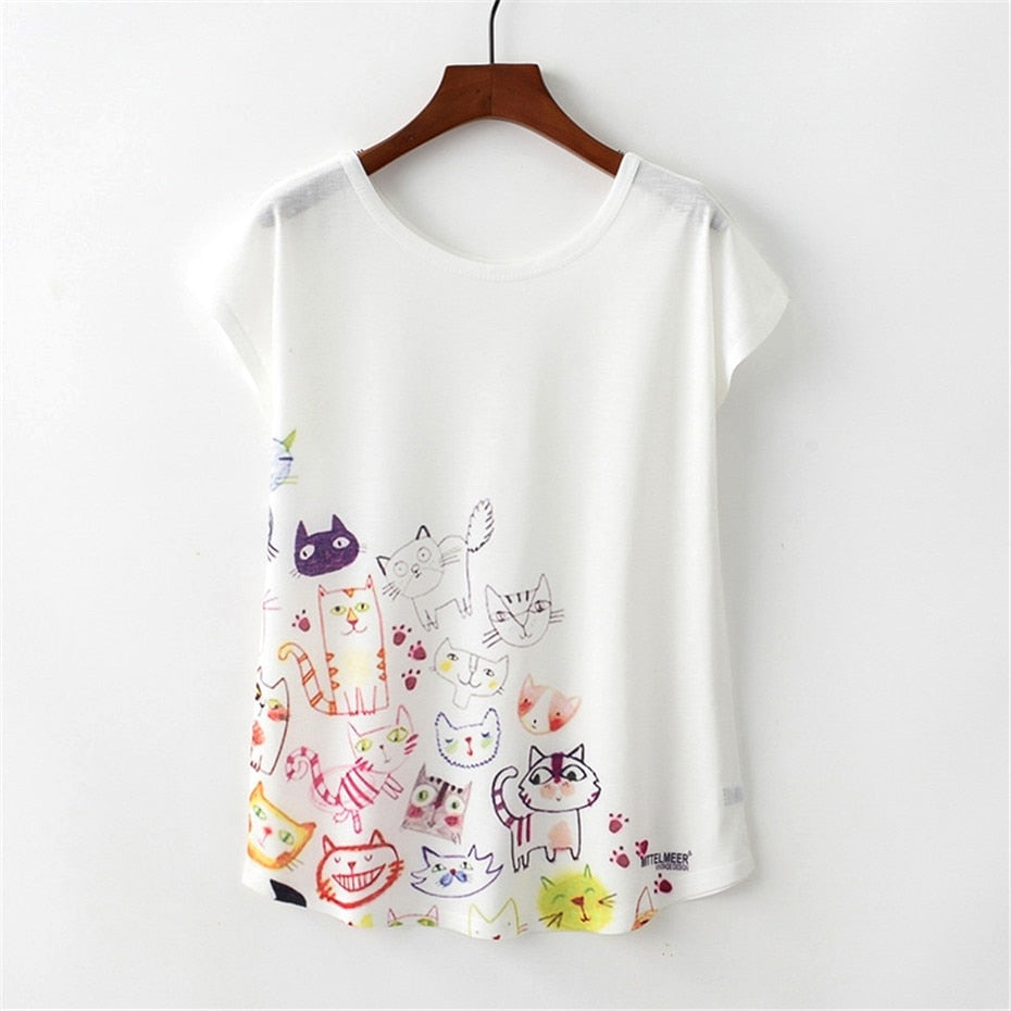 KaiTingu Summer Novelty Women T Shirt Harajuku Kawaii Cute Style Nice Cat Print T-shirt New Short Sleeve Tops Size M L XL - ShopTug
