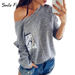 Knitted Sweatshirt Female Slash Neck Sequined Pullover Knitting Warm Winter Plus Size Jumper Women Hoody Pocket Autumn Top GV072 - ShopTug