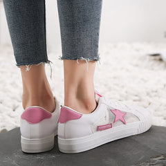 Leather Sneakers Women Vulcanize Shoes Summer Star White Sneakers Women - ShopTug