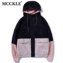 MCCKLE 2018Spring Color Block Patchwork Corduroy Hooded Jackets Men Hip Hop Hoodies Coats Male Casual Streetwear Outerwear - ShopTug