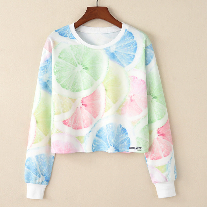 MITTELMEER 2018 bts Harajuku Sweatshirt Woman girls crop top Cartoon unicorn cat Animal fruit printing short Sweatshirt Hoodies - ShopTug