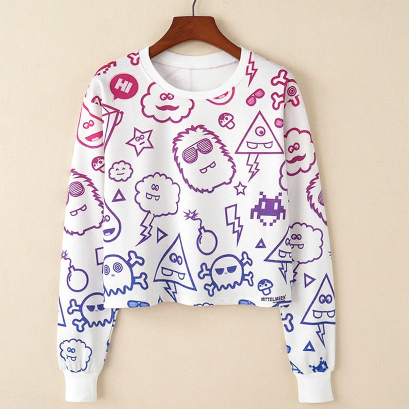 MITTELMEER 2018 bts Harajuku Sweatshirt Woman girls crop top Cartoon unicorn cat Animal fruit printing short Sweatshirt Hoodies