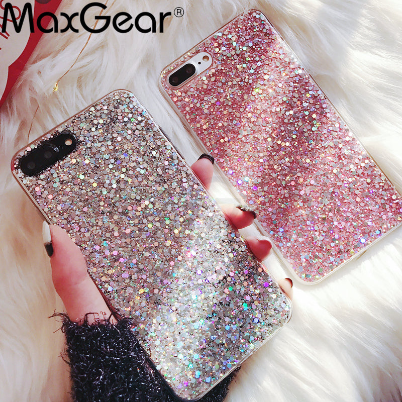 MaxGear Phone Case for iPhone 6 6S Case Silicon Bling Glitter Crystal Sequins Soft TPU Cover Fundas for iPhone 5 5S 7 8 Plus X - ShopTug