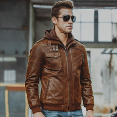 Men's Real Leather Motorcycle jacket | Hood winter coat with Genuine Leather