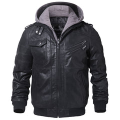 Men's Real Leather Motorcycle jacket | Hood winter coat with Genuine Leather - ShopTug