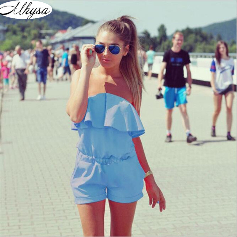 Mhysa Dresses Womens Beach 2018 Summer Women Fashion Casual Ruffles Strapless Waist Tightening Candy Color Womens Dress 060 - ShopTug