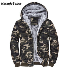 NaranjaSabor Winter Men's Jacket | Camouflage Hoodies Army Green