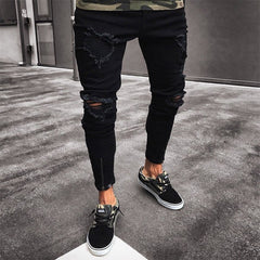 New Black Ripped Jeans Men | Distressed Jeans Hip Hop Fashion