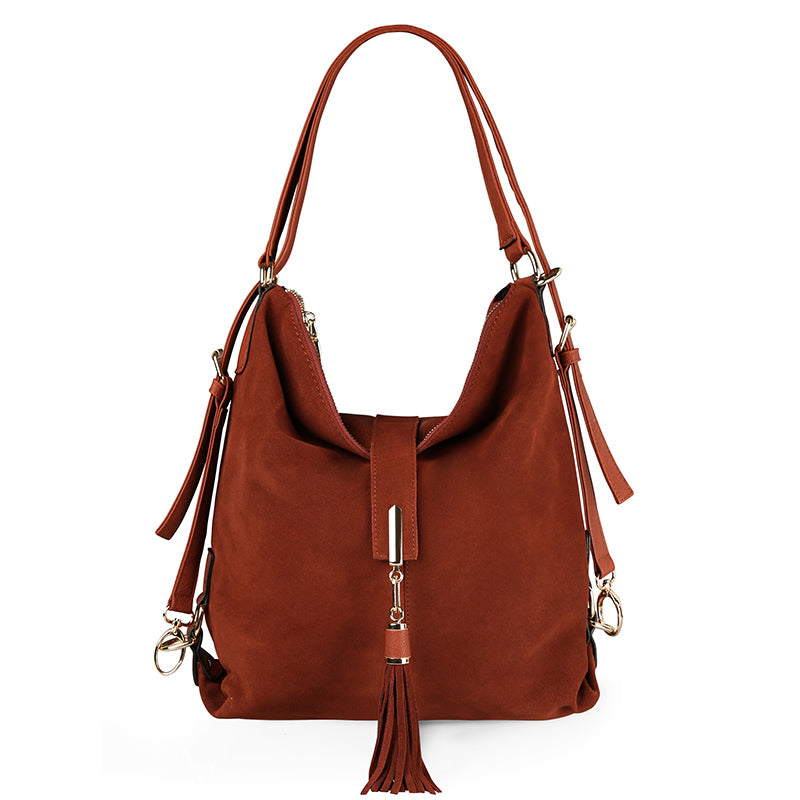 Nico Louise Women Real Split Suede Leather Shoulder Bag Female Leisure Nubuck Casual Handbag Hobo Messenger Top-handle bags - ShopTug