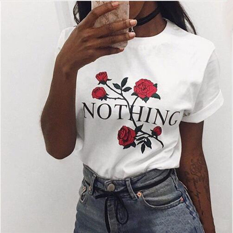Nothing Letter Rose Print Female T Shirt  Harajuku T-Shirts Women 2017 New Summer Short Sleeve Casual Clothing Punk Tee Tops - ShopTug