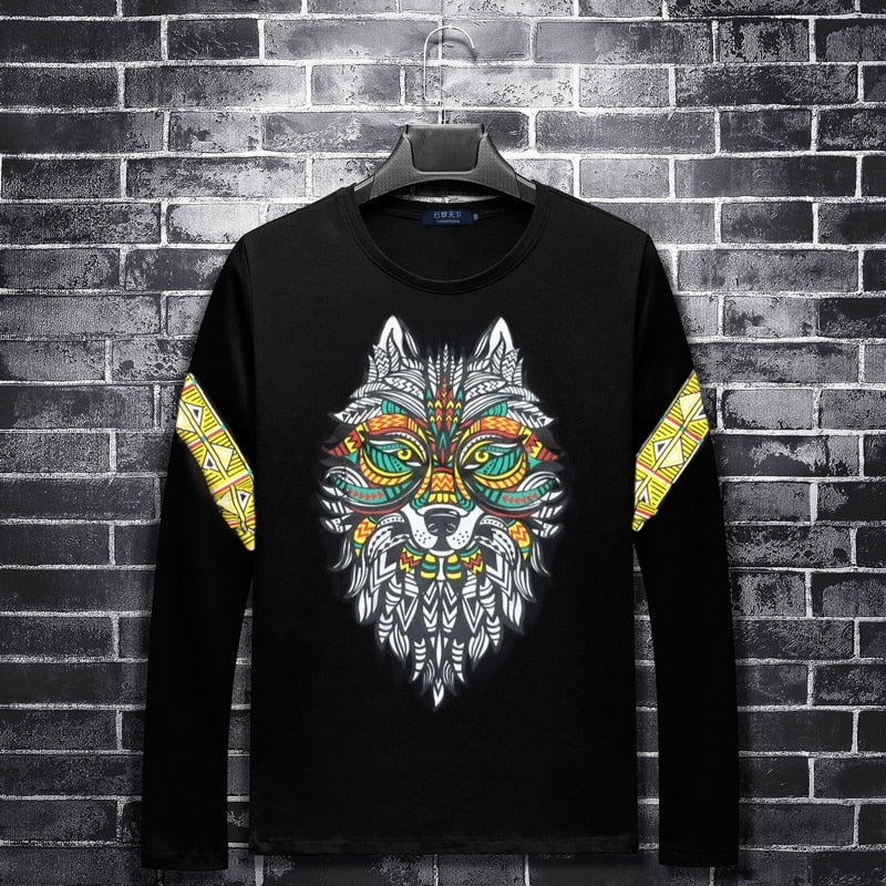 Plus size 8XL 7XL 6XL round neck fashion US size casual men's TOP wolf printed long sleeves relax fit typographic Tshirts black - ShopTug