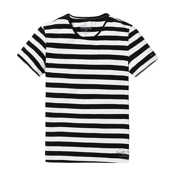 SIMWOOD New Men T shirt Fashion O-neck Short-sleeved Slim Fit Blue Striped T-SHIRT Man Top Tee Plus Size Free Shipping TD1034 - ShopTug