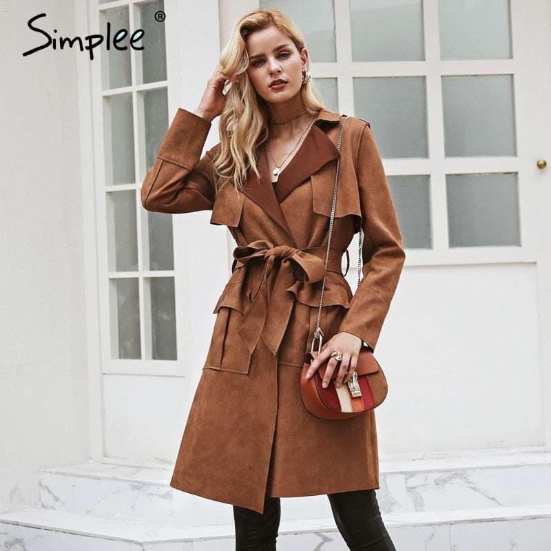 Casual leather pocket long women autumn coat | Turn down collar sash suede trench coat