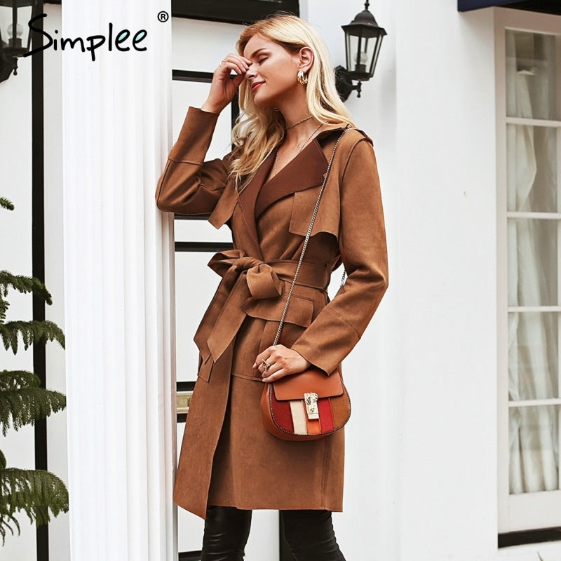 Casual leather pocket long women autumn coat | Turn down collar sash suede trench coat - ShopTug