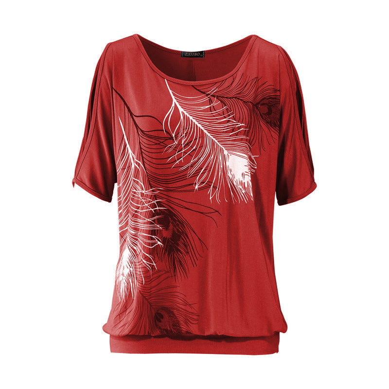 Summer Women Feather Printed T-shirts O- neck - ShopTug
