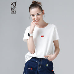 Toyouth Summer Tops Women Watermelon Print T Shirts Base O-Neck Short Sleeve Female T-shirt All-match Pink White Tee Shirt Femme - ShopTug