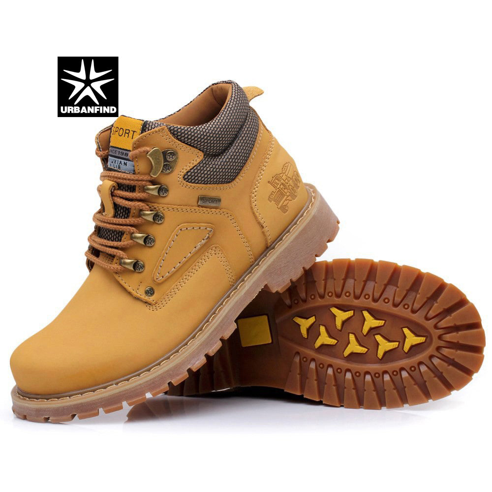 URBANFIND Lace-Up Men Fashion Boots EU 38-44 Durable Rubber Sole Man Nubuck Leather Ankle Shoes Brown / Yellow - ShopTug