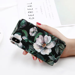 USLION Camellia Flower Leaf Marble Phone Case For iPhone X Cherry Rose Floral Case For iPhone 7 8 6 6S Plus Hard PC Cover Coque - ShopTug