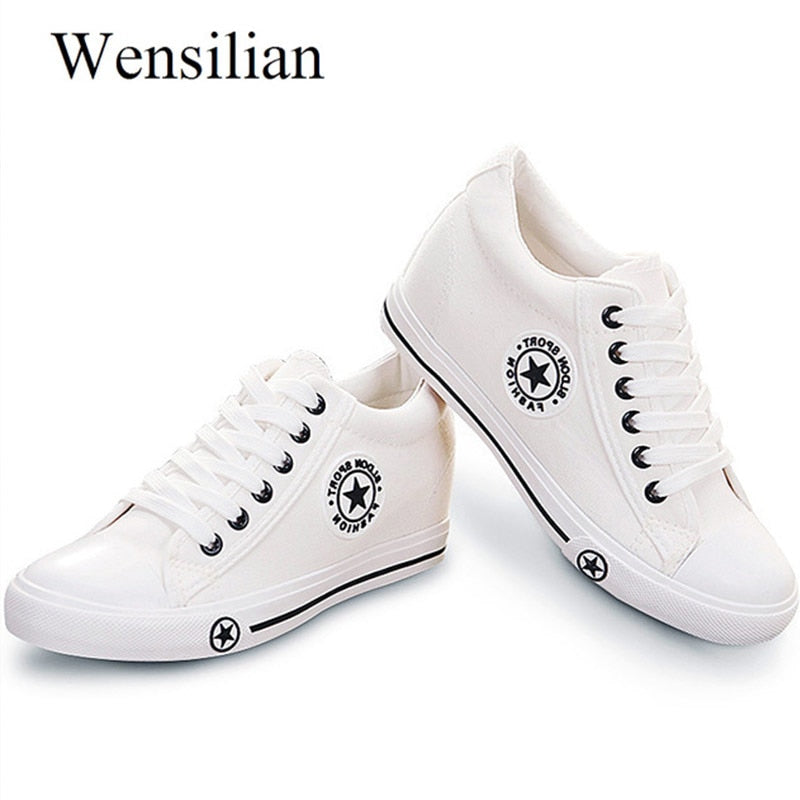 Wensilian Vulcanize Women Trainers Lace-Up Canvas Shoes - ShopTug