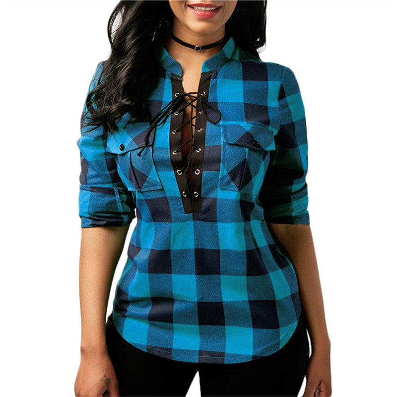 Women Plaid Shirts 2018 Spring Long Sleeve Blouses Shirt Office Lady Cotton Lace up Shirt Tunic Casual Tops Plus Size Blusas - ShopTug