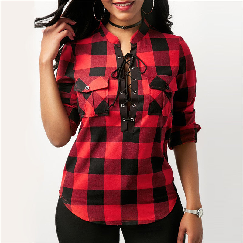 e8a44e0c3498 Women Plaid Shirts 2018 Spring Long Sleeve Blouses Shirt Office Lady Cotton  Lace up Shirt Tunic