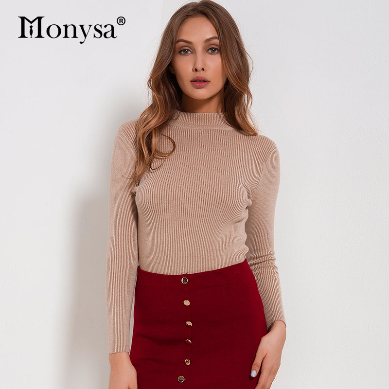 Women Sweaters And Pullovers 2018 New Autumn Winter Clothing Casual Knitted Women Tops Long Sleeve Basic Sweaters For Women - ShopTug
