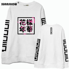 XUANSHOW 2018 Spring Autumn Women Bangtan Boys Album Fans Clothing Gray White Black Color Casual Chinese Letters Printed Tops - ShopTug
