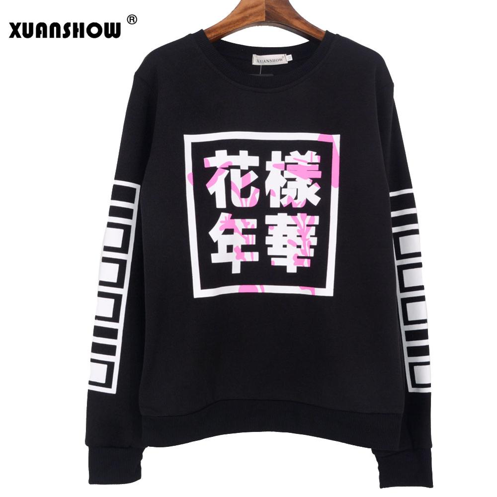 Capable 2018 Spring Autumn Women Bangtan Boys Album Fans Clothing Gray White Black Color Casual Chinese Letters Printed Tops Hoodies & Sweatshirts