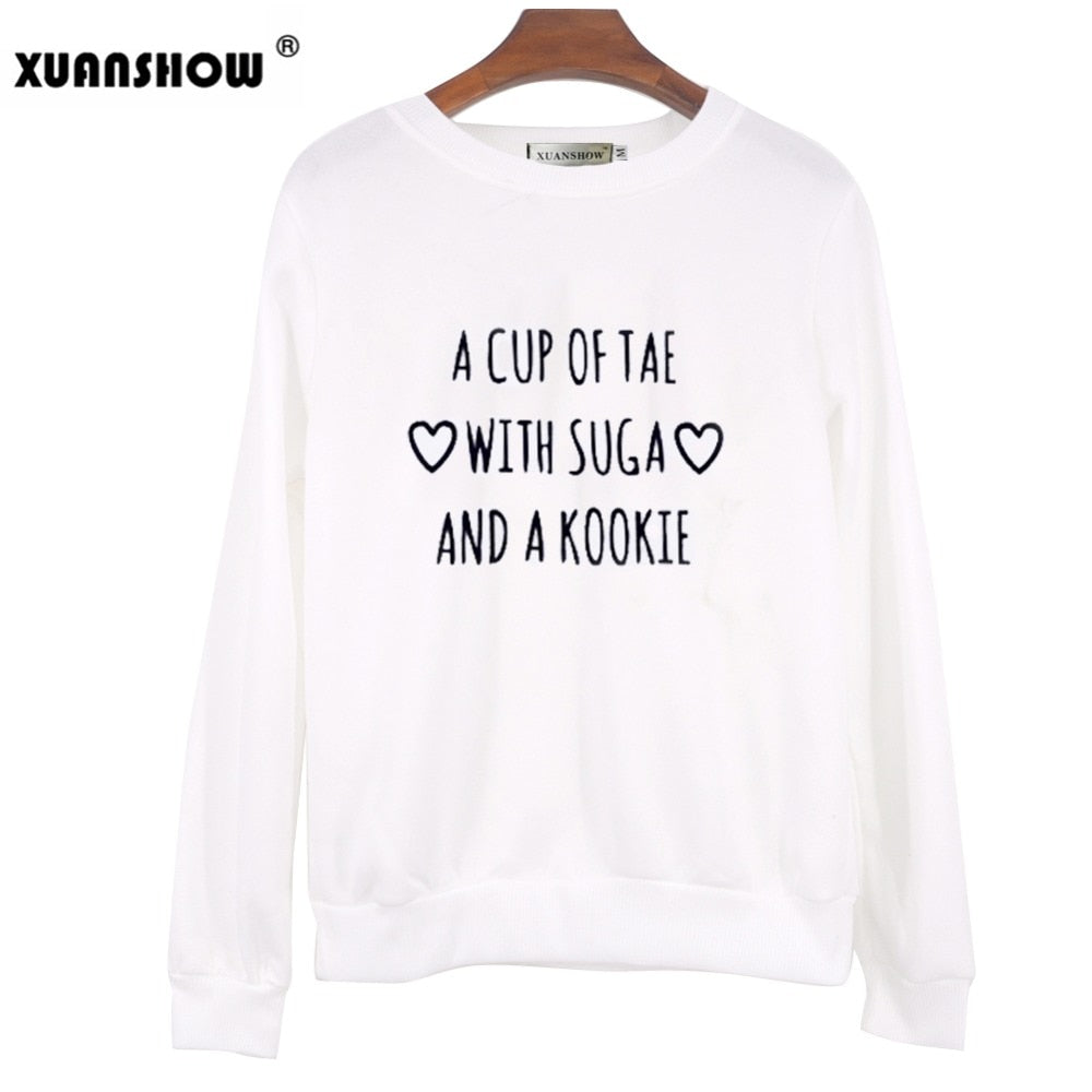 XUANSHOW Fashion Sweatshirts 2018 Autumn Long Sleeve BTS A Cup Of Tae With Suga Printed Pullovers Women's Fleece Sweatshirt XXL