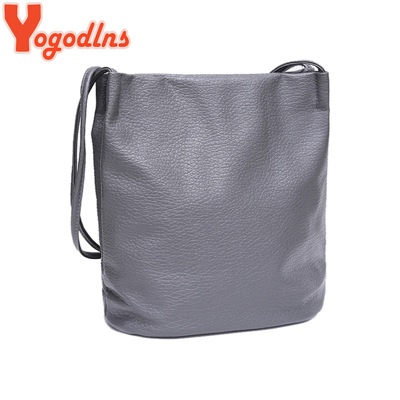 Yogodlns Women Leather Handbags Black Bucket Shoulder Bags Ladies Cross Body Bags Large Capacity Ladies Shopping Bag Bolsa - ShopTug