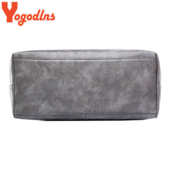 Yogodlns bag 2018 fashion women leather handbag brief shoulder bags gray /black large capacity luxury handbags tote bags design - ShopTug
