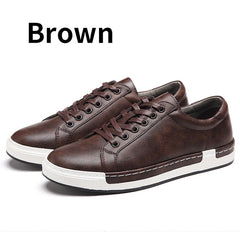 Autumn New Casual Shoes Mens Leather Flats Lace-Up Shoes - ShopTug