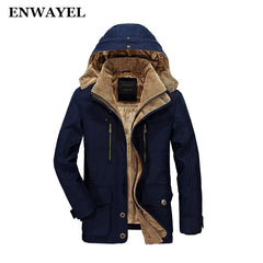 ENWAYEL Winter Thick Padded Parka Men Jacket Coat Russian Wadded Long Hooded Casual Warm Snow Windbreaker Overcoat Male Jackets - ShopTug