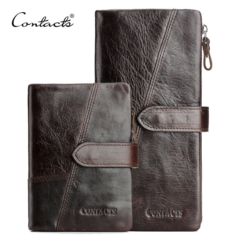 CONTACT'S Genuine Crazy Horse Cowhide Leather Men Wallets Fashion Purse With Card Holder Vintage Long Wallet Clutch Wrist Bag - ShopTug