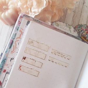 "Foiled scalloped ""Little Things"" headers"