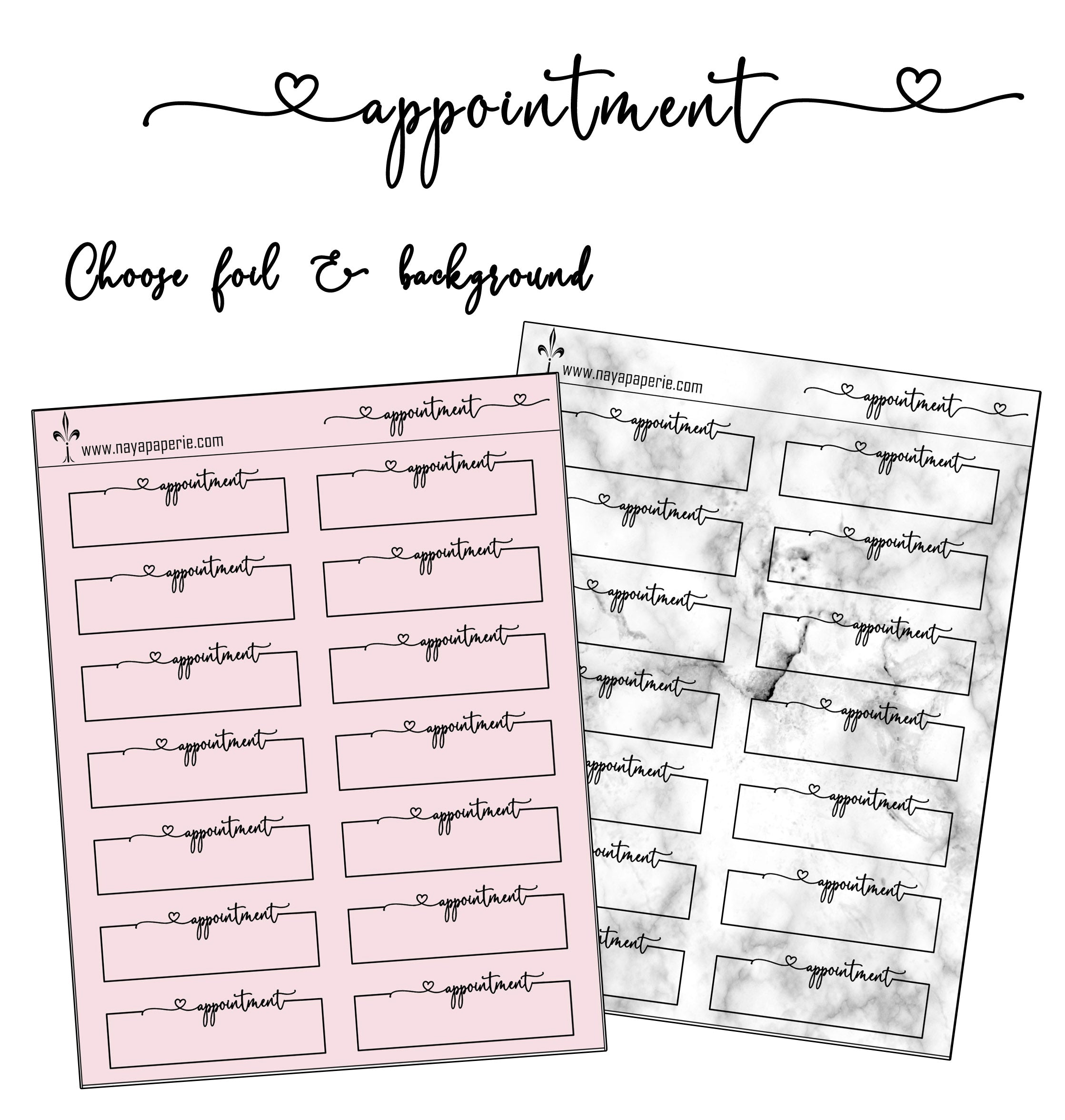 Foiled - Appointment quarter boxes
