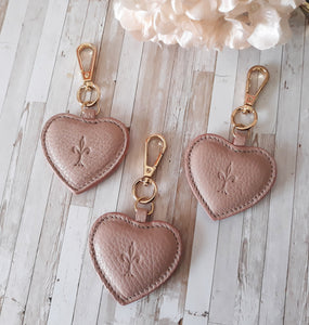 Water Rose leather Heart key chain