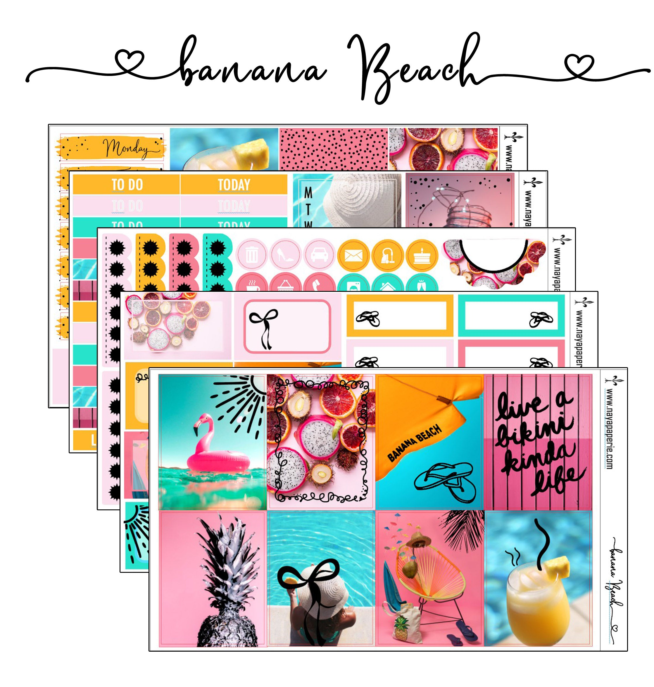 Banana Beach foiled stickers kit- 5 sheets