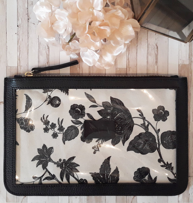 Clear and Leather Clutch/Pencil Holder Jet Black