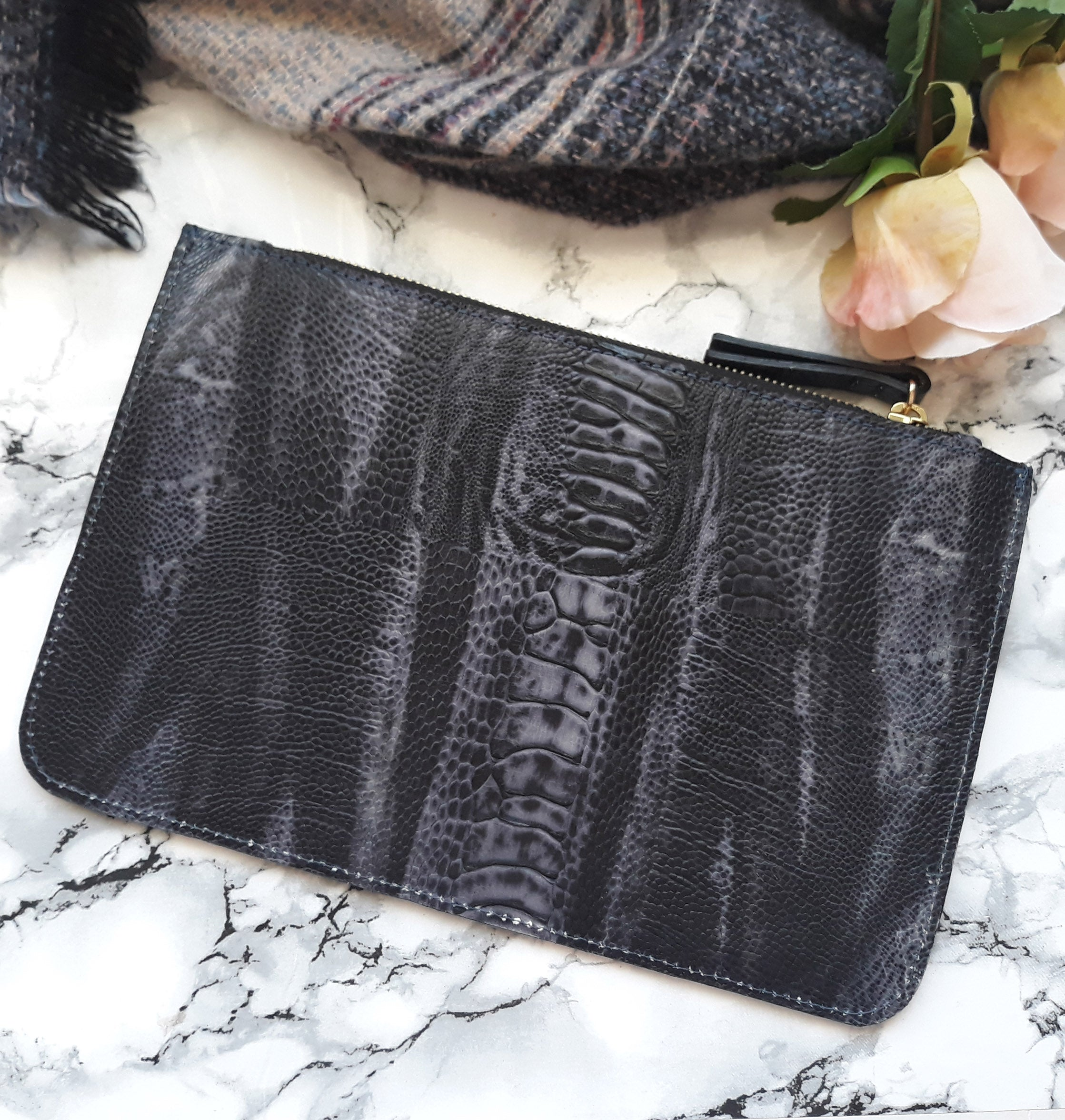 Clear and Leather Clutch/Pencil Holder Black Croc