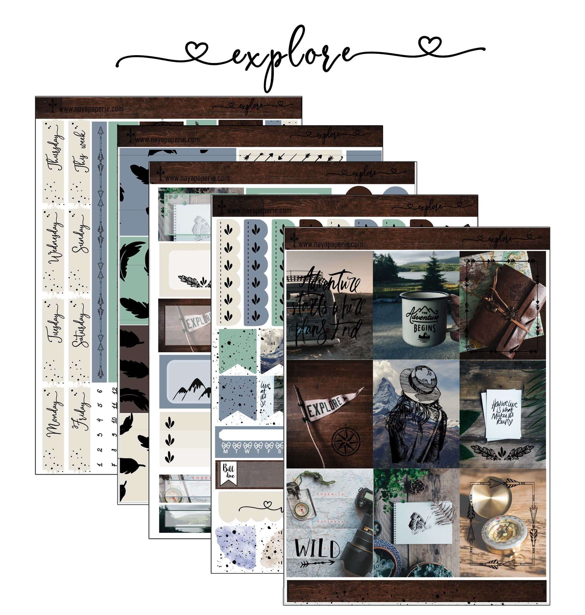 Explore foiled stickers kit- 5 sheets
