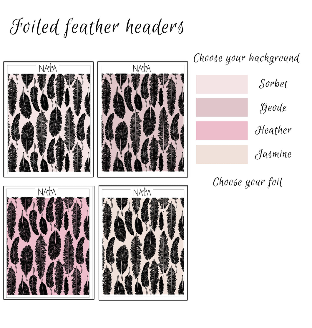 Foiled feathers headers