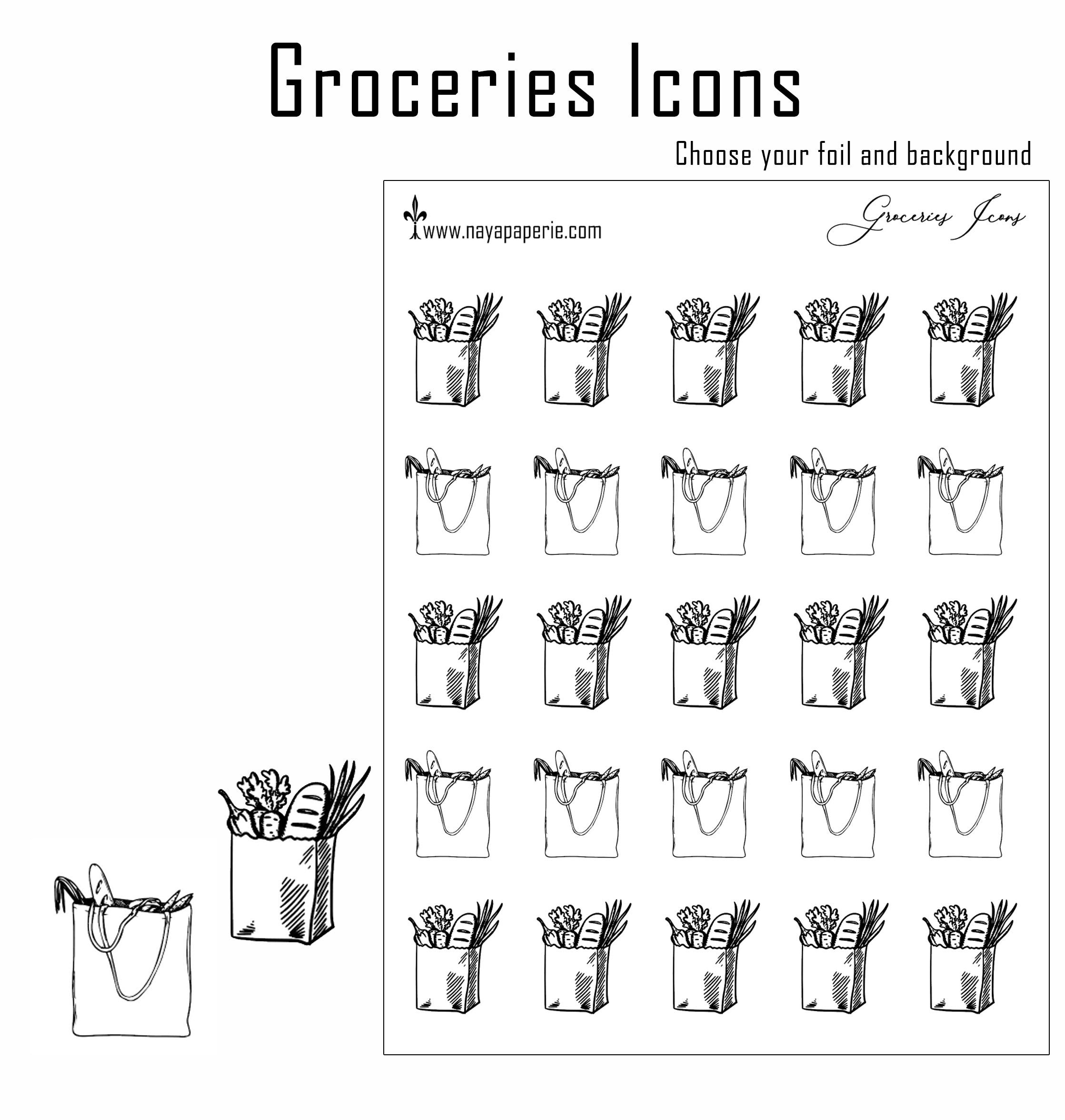 Foiled -  Groceries Icons