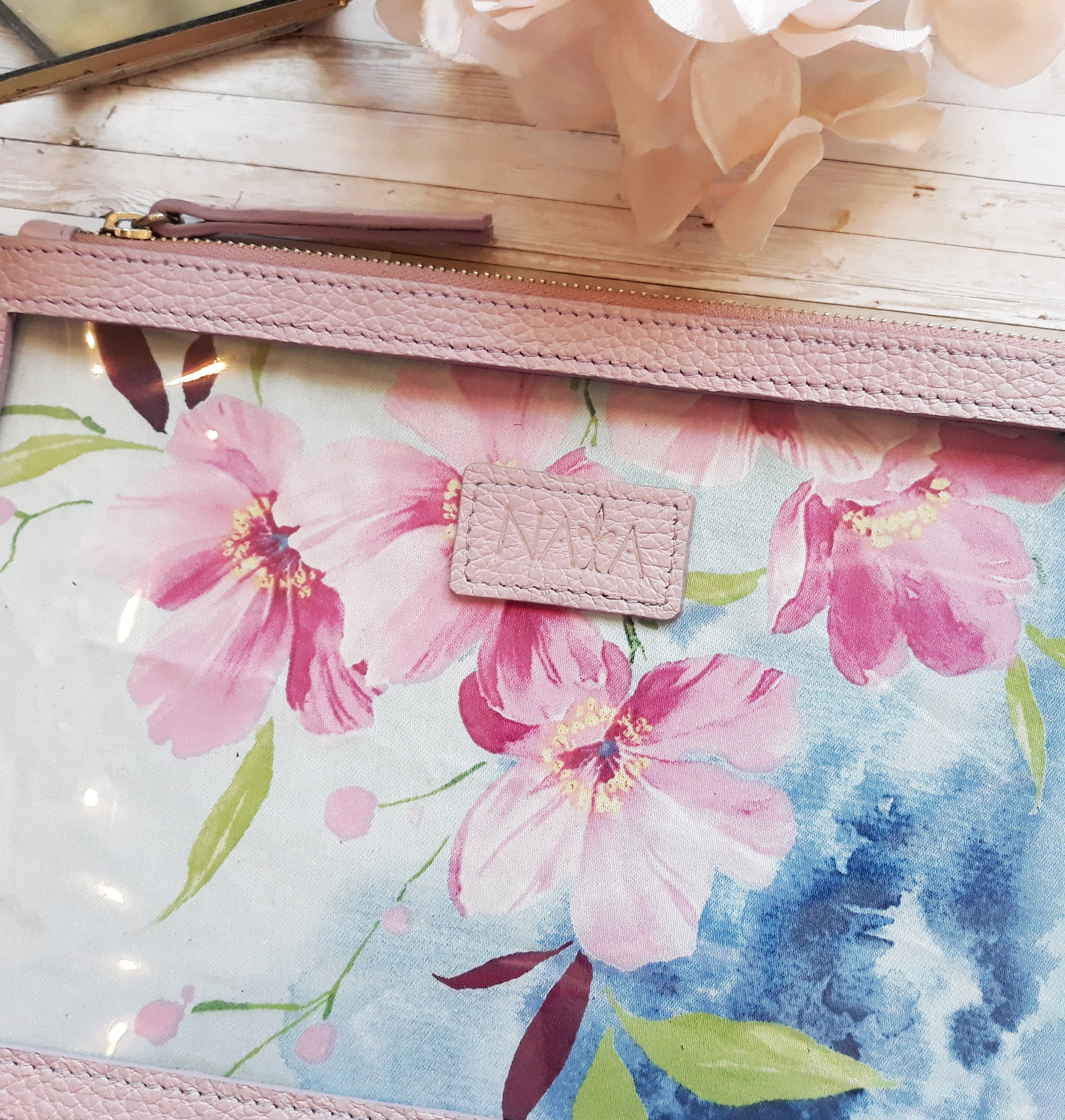 Clear and Leather Clutch/Pencil Holder Lilac