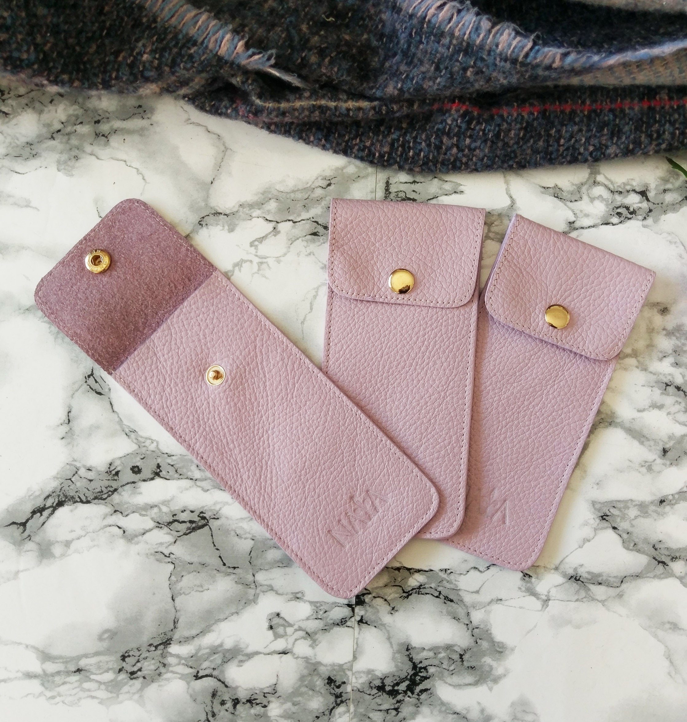Lilac Leather pen holder