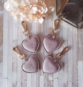 Lilac leather Heart key chain