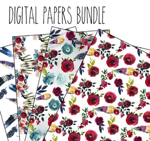 Merlot digital papers bundle